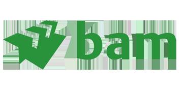 Het logo van BAM. Eén van de vele klanten van Euro Drone Inspections.