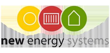 Het logo van New Energy Systems. Eén van de vele klanten van Euro Drone Inspections.