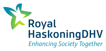 Het logo van Royal HaskoningDHV. Eén van de vele klanten van Euro Drone Inspections.
